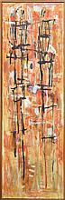 David Rankin (1946 - ) - Standing Figures - Red 174 x 55cm