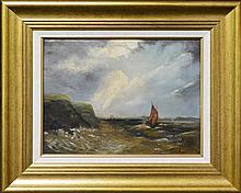 Attributed to James Haughton Forrest (1826 - 1925) - Boat Off The Coast 35 x 45cm