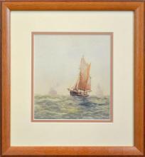 Frederick James Elliott (1864 - 1949) - Ships Outside The Harbour 19 x 18cm