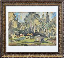 Desiderius Orban (1884 - 1986) - Blue Mountains Scene 41 x 59cm