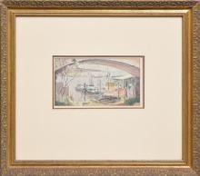 Matthew James MacNally (1874 - 1943) - Boats Beneath The Arches 13.5 x 24cm