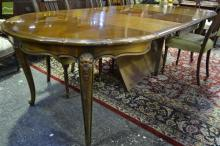Louis XV Style Cherrywood Veneered Extension Dining Table with circular parquetry top with four leaves on cabriole legs