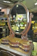 Victorian Mahogany Toilet Mirror, the base with small hinged compartments