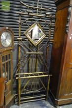 French Chinoiserie Style Bamboo Hallstand, with diamond shaped mirror