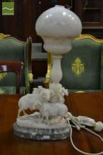 Carved Alabaster Sheep Lamp