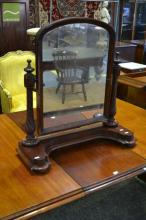 Victorian Mahogany Toilet Mirror, with spiral supports, on plinth base & retailer label (some losses to veneer)