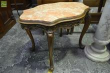 Louis XV Style Carved Fruitwood Coffee Table, with pink marble top pierced frieze and cabriole legs