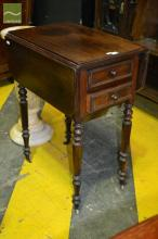 Probably Louis Philippe Rosewood Side & Work Table, with hinged flaps, two drawers, a slide out basket & marble lined compartment to...