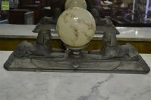Art Deco Style Sphinx Lamp, with ball shade & stepped base
