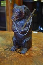 Blackforest Carved Bear Wall Container (repaired foot)