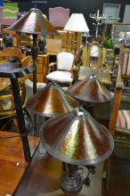 Set of 3 Amber Shade Table Lamps & Matching Standard Lamp (4)