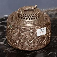 Chinese White Metal Incense Burner with Cover,