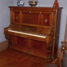 A Late C19th Straight Grained and Burr Walnut Upright Piano,