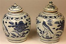 Ming Dynasty Blue & White Pair of Lidded Urns