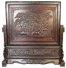 Chinese Timber Carved Fire Screen