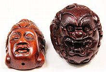 Chinese Boxwood Netsuke & Another