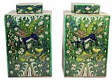Chinese Famille Verte Covered Tea Caddies