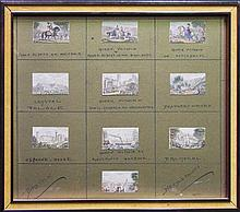 Framed Selection of (10) George Baxter Needle Prints, 2.8 x 4.5cm each