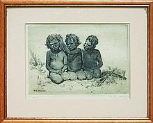 B. E. Minns (1864 -1937) - Aboriginal Children 12.5 x 17cm