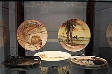 'Two's Company' I.A Crisp Kookaburras Plate and Royal Doulton and Arabia Cabinet Plates
