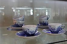 Set of 6 Royal Copenhagen Floral Cup/ Saucers and 2 Plates