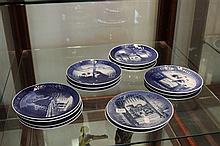 Royal Copenhagen Cabinet Plates incl 1960's and 70's Christmas Plates