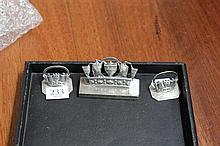 3 Silver Hallmarked Card Holders
