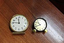 Vintage Brass Bucherer and Jaeger Round Clocks