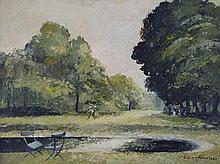 Adrian Feint (1894 -1971) - Untitled (Garden Scene) 1967 oil on board