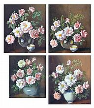 Albert Sherman (1882 - 1971) - Roses (4) oil on board