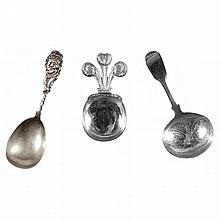 A group of three English silver caddy spoons