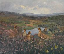 Albert Sherman (1882 - 1971) - Grouse in the Heather oil on canvas