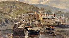 William Henry Pike (British, 1846 - 1908) - Untitled (Cornish Village and Harbour)1888 oil on board