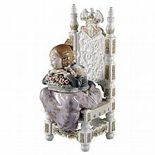 A Lladro figure of a young girl on a throne holding a floral basket, printed marks to base. Reference no. 1398.