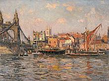 Will Ashton (1881 - 1963) - Hammersmith Bridge 1913 oil on canvas