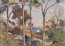 Will Ashton (1881 - 1963) - Untitled (View Towards Sydney Harbour with Yacht) 1908 oil on canvas on board