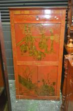 19th Century Later Decorated Bureau Abattant, painted with red chinoinserie scenes fitted with a drawer, fall front with bramah lock...