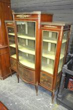 Vernis Martin Style Breakfront Display Cabinet, with gilt metal mounts and galleries, bowed door and side panels painted with lovers...
