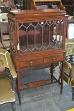 Edwardian Mahogany Display Cabinet, with astragal door and sides, two drawers on stretcher base