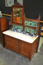 Marble Top Mirrored Back Wash Stand