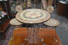 Metal 3 Piece Mosaic Top table and Chairs