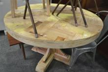 Blonde Wood Herringbone Circular Dining Table (120cm Diameter)