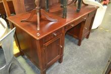 Twin Pedestal Desk with Three Drawers and Two Doors