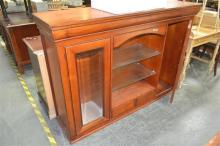 Large Timber Cabinet with Glass Shelves flanked by Glass Doors