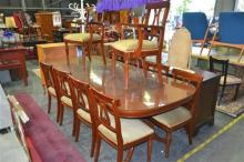 11 Piece Dining Setting incl. 10 Lyre Back Chairs incl. 2 Carvers & Large D-End Dining Table