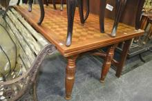 Parquetry Top Timber Dining Table with Draw Leaf Extension