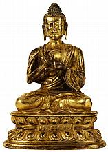 FINE CHINESE GILT BRONZE FIGURE OF BUDDHA SHAKYAMUNI, QIANLONG MARK AND HUANGHUALI BOX