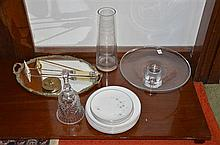 Collection of Wares Incl. Cake Stand, Mirrored Tray and Two Candle Snuffs -