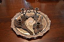 Hardy Brothers Silver Plate Serving Tray with Metal Chamber Sticks -