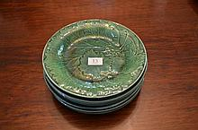 Set of 7 Antique French Majolica Green Serving Plates -